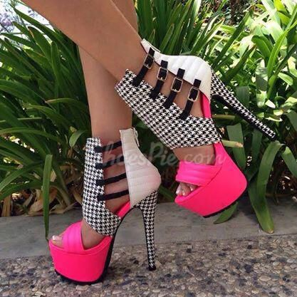 Houndstooth..pink and white strappy heels