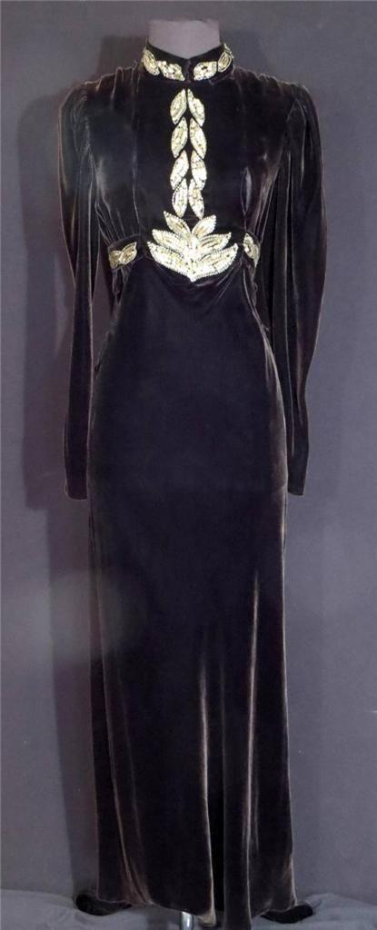 1930's Long Dark Brown Velvet Beaded Sequin Dress