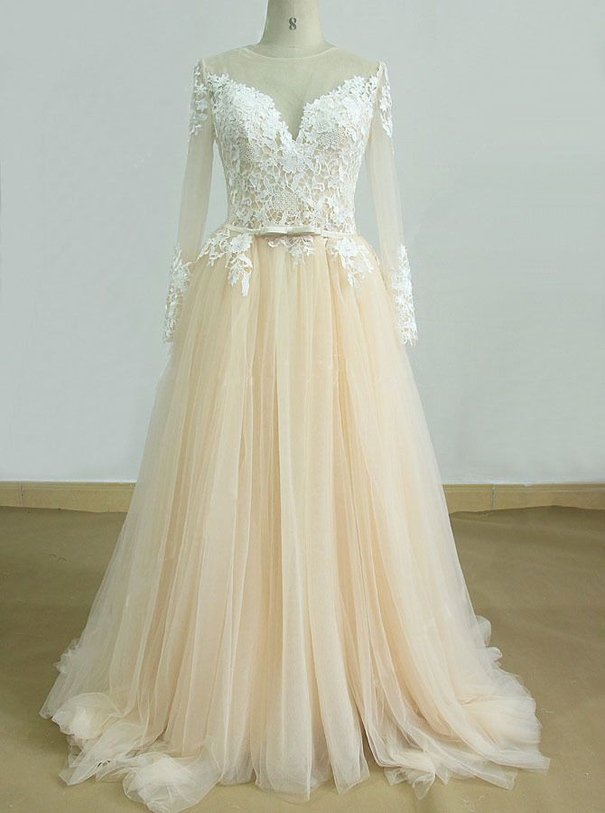 ec4d9e67dd9 Champagne Wedding Dresses with Sleeves