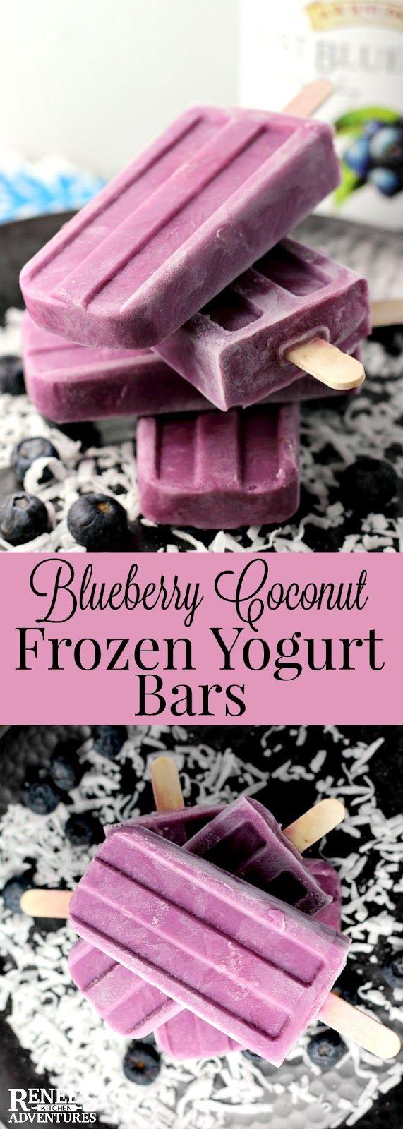 Blueberry Coconut Frozen Yogurt Bars   Renee's Kitchen Adventures - Easy recipe for homemade frozen yogurt bars made with blueberry juice and Greek yogurt. #ad @RWKnudsen