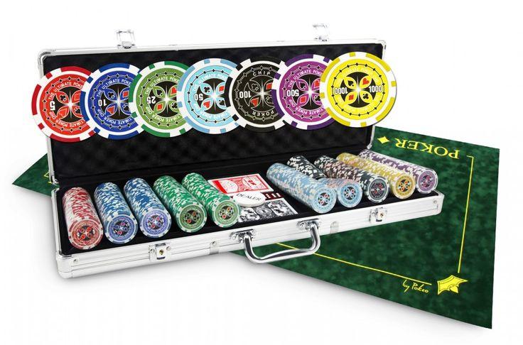 Pack de poker mallette Ultimate Poker Chips 500 jetons et tapis vert
