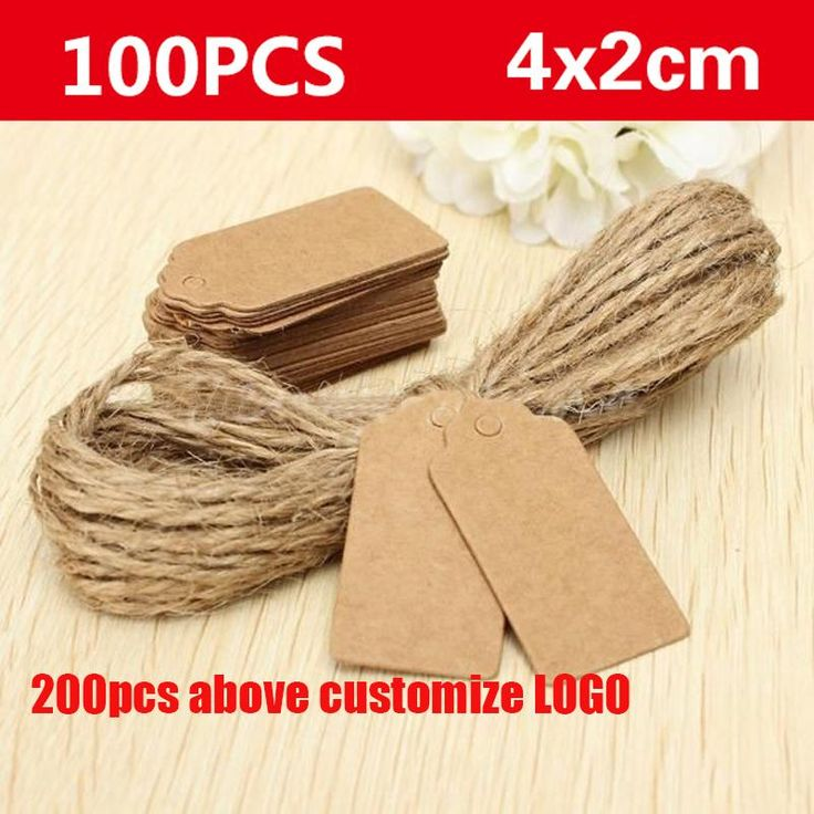 100pcs Kraft paper labels lace scallops head luggage wedding etiquette Rating  DIY chain Blank hang tag Kraft Be customized LOGO