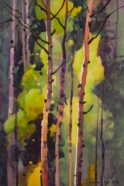 """""""Autumn Aspen Below Lovelake"""" - Originals - All Artwork - Stephen Quiller   Fine Art World"""