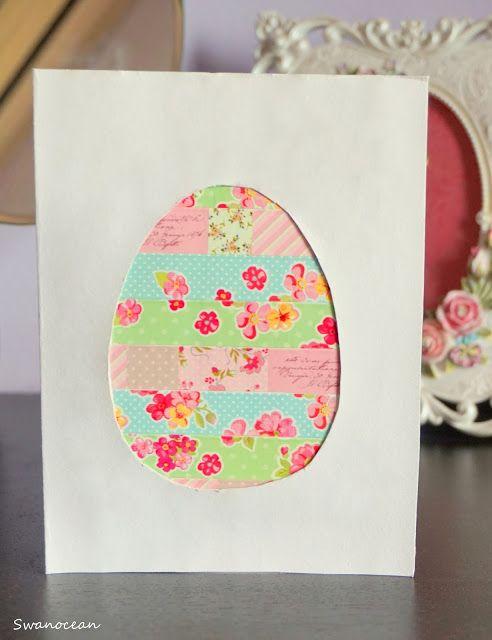 Swanocean: Tutorial: Easter card with washi tape-Πασχαλινή κάρτα με αυτοκόλλητες ταινίες