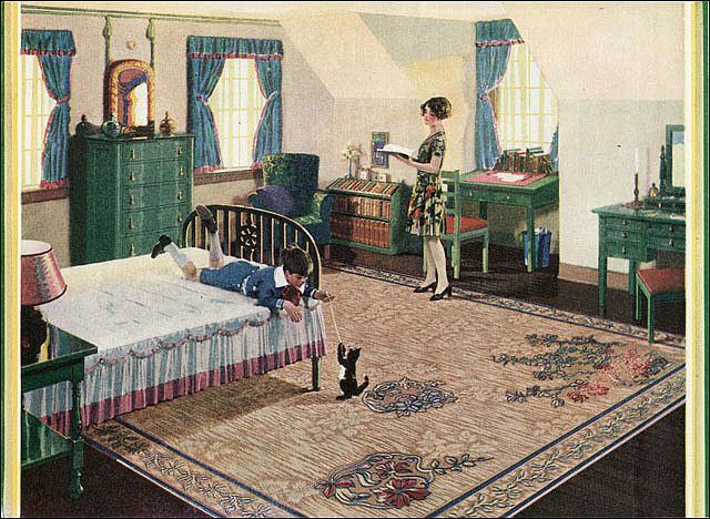 https://flic.kr/p/62PxGP | 1928 Congoleum Rug - Attic Bedroom | Source: Ladies Home Journal See other bedrooms from the 1920s gallery at American Home & Style.
