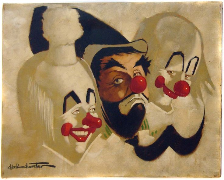 Clowns Paintings Original Canvas   Original Signed Oil by Chuck Oberstein of Three Clowns