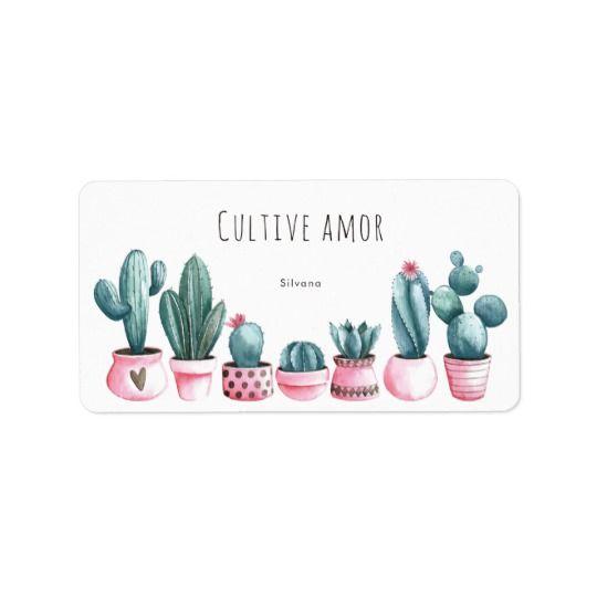Boda del rosa de Boho y del cactus de la acuarela Etiquetas De Dirección