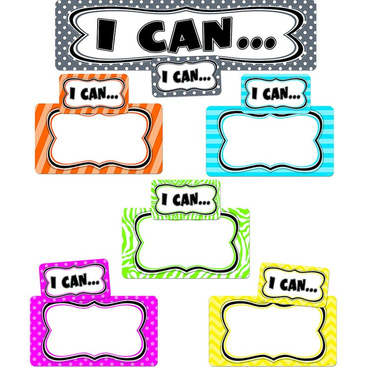 "Show what your students can do! Write standards or goals that students are working to achieve in the form of ""I can..."" statements. Then display students' work or students' names below each statement."