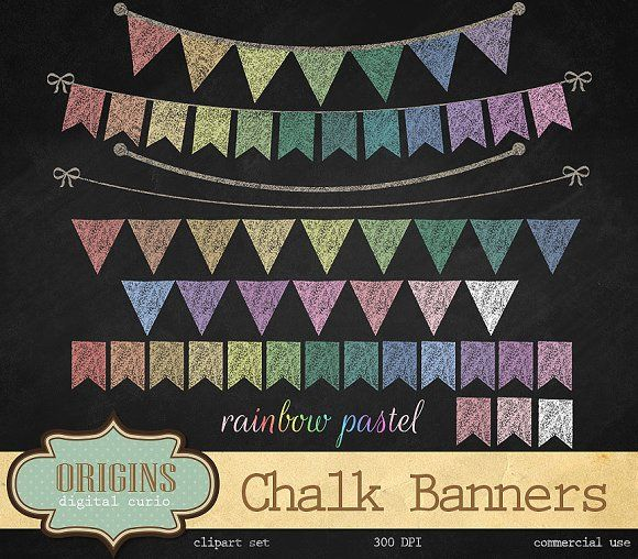 Rainbow Pastel Bunting Banners by Origins Digital Curio on @creativemarket