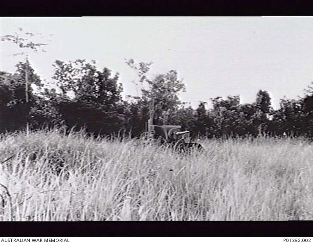 BUNA, PAPUA. 1952. AN AMERICAN GENERAL STUART M3 LIGHT TANK ABANDONED AMONGST THE KUNAI GRASS. IN 1942-12 THIS WAS MANNED BY 2/6TH ARMOURED REGIMENT IN SUPPORT OF 2/10TH BATTALION TROOPS ATTACKING ...