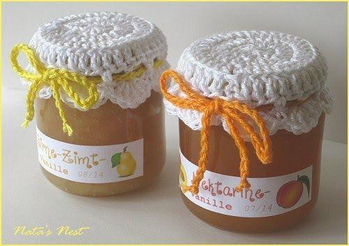 Natas Nest: Jam Pot Covers - Free Crochet Pattern / Marmeladenhäubchen - Kostenlose Häkelanleitung