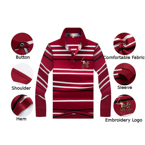 Mens Embroidery Logo Striped Printed Polo Shirt Spring Fall Long Sleeve Casual Business Tee Tops