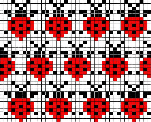 knitiot's Ladybug Mitten Pattern and chart
