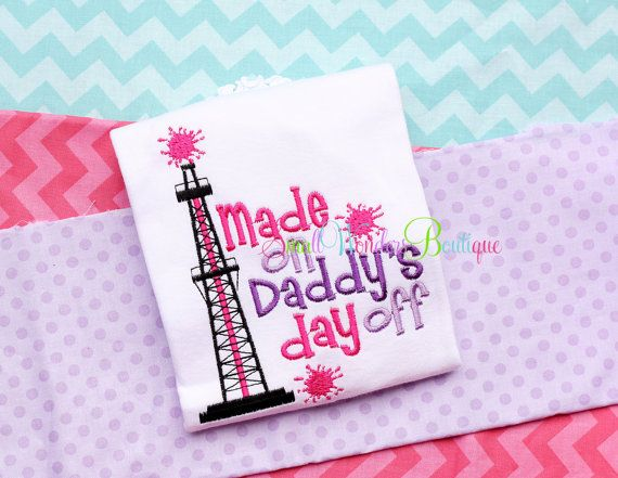 Made On Daddys Day Off Embroidered Shirt - Oilfield Shirt - Outta My Way - Daddys Home Oilfield - Oilfield Daddy - Daddys Day Off Oilfield ~ While the shirt is shown in the colors above, I am more than happy to do a custom order for you if you would prefer different colors/fabric.