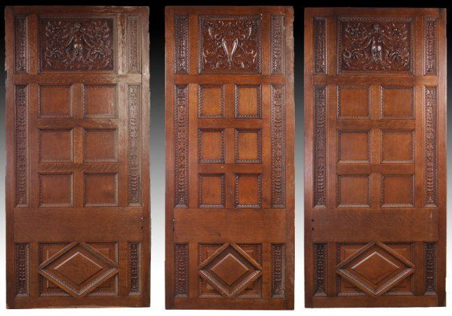 Set of 3 carved Tiger Oak doors from Cornelius Vanderbilt 11, NYC Gilded Age mansion, at 1 West 57th Street. c.1880s.