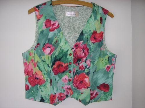 """Monet Poppies Waistcoat 10-12 (32"""" - 34"""") from Jacaranda"""