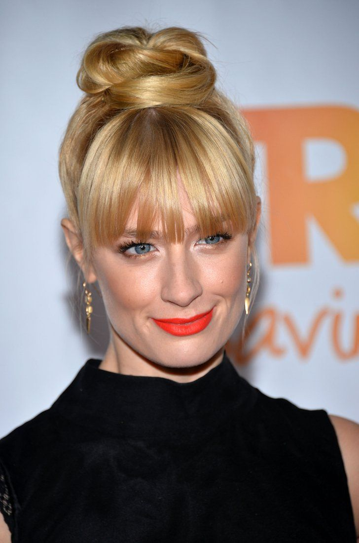 Pin for Later: When It Comes to Lipstick, Orange Is the New Black (or Red, Rather) Beth Behrs No two things go together better than bangs and orange lipstick. Just take Beth's example from the Trevor Project Benefit.