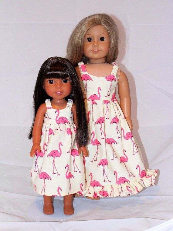 """Pink Flamingo Dress Fits Wellie Wisher 14.5/"""" American Girl Clothes"""