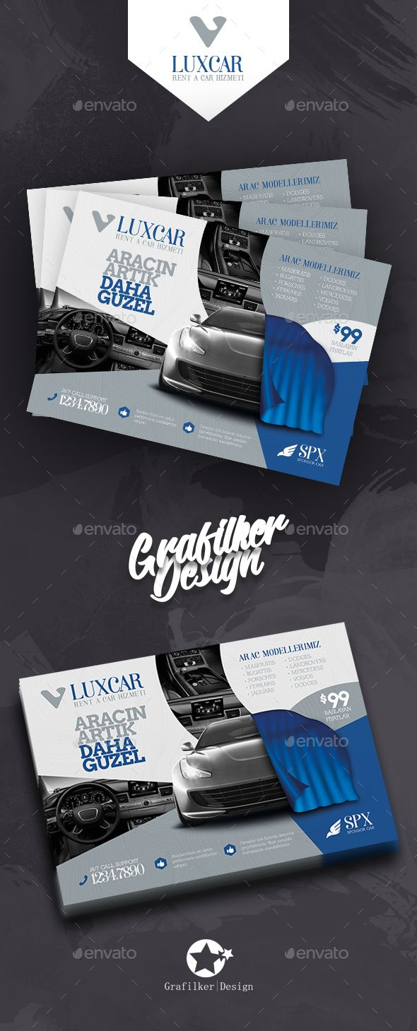 Rent A Car Flyer Template PSD, InDesign INDD
