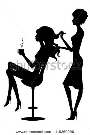 Vector illustration of black silhouette hairdresser and client