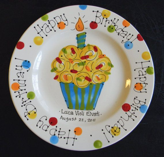 Hand Painted Birthday Plate  Colorful Cupcake by cutiepatooties1, $36.50