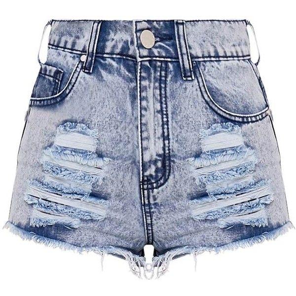 Elana mini-short en jean déchiré noir (100 BRL) ❤ liked on Polyvore  featuring shorts 1ae54dc2733