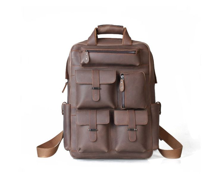 vintage handmade crazy horse leather briefcase messenger backpack This handmade leather bag is made with selected materials. The properties of Antique Crazy Horse Leather and vintage design make this item unique. A truly one of a kind item. All hand stitched, works excellent.Material: Antique Crazy Horse Leather