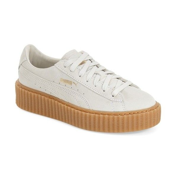 "PUMA by Rihanna 'Creeper' Sneaker , 1 1/2"" heel ($120) ❤ liked on Polyvore featuring shoes, sneakers, star white, punk platform shoes, punk shoes, white platform shoes, platform lace up shoes and creeper shoes"