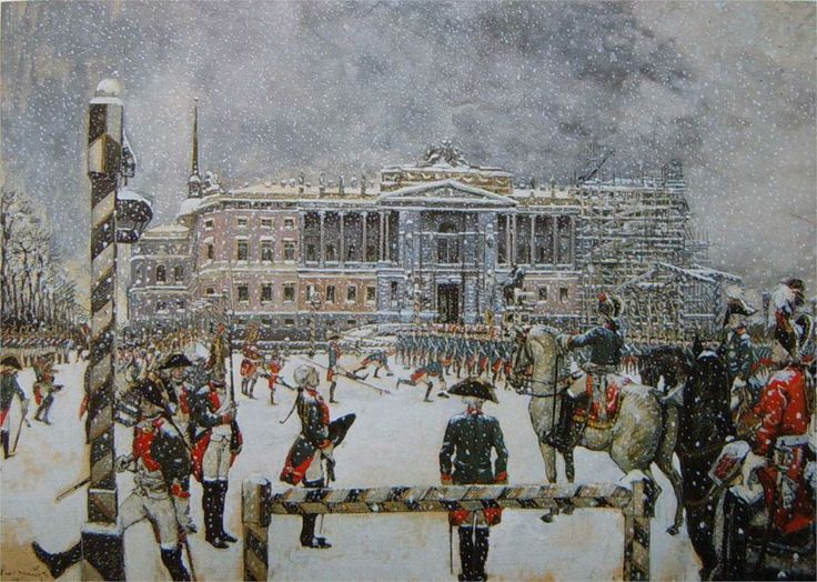 Alexandre Benois Military Parade of Emperor Paul in front of Mikhailovsky Castle, 1907