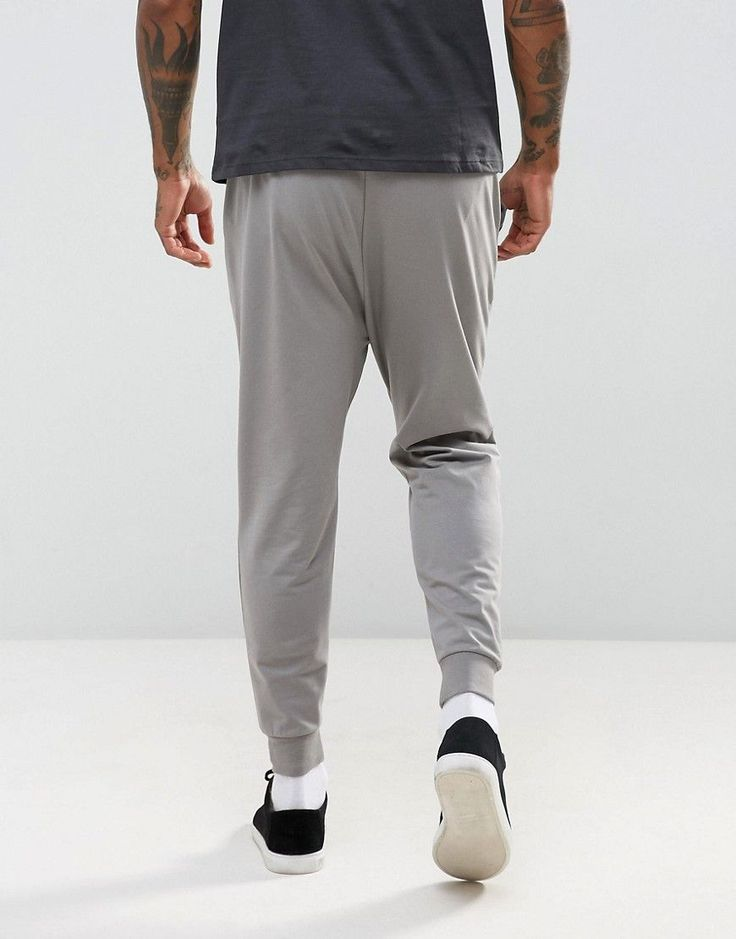 ASOS Lightweight Drop Crotch Jogger in Gray - Gray