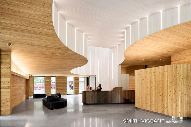 Wood Interior Design Natural Light Ceiling recess and light well Smith Vigeant Architectes