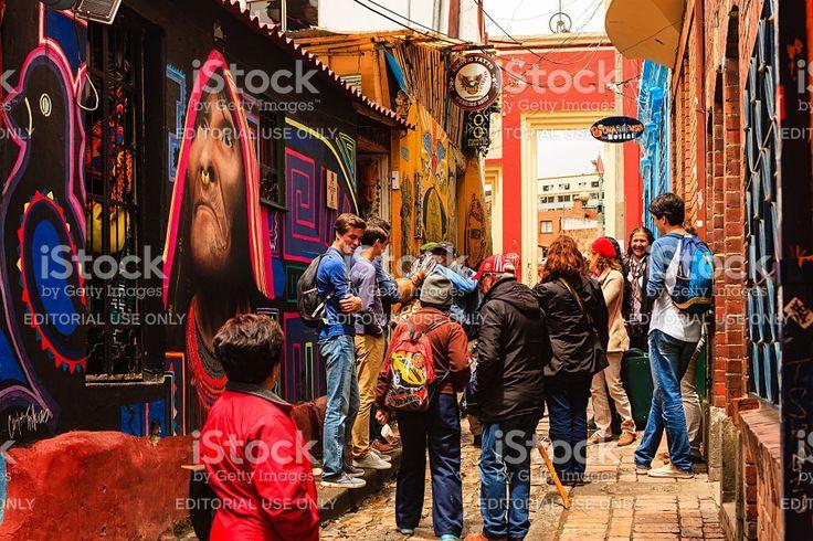 Bogota, Colombia - Tourists on Carrera Segunda in La Candelaria royalty-free stock photo
