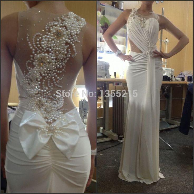 Atacado Custom Made 2016 Sereia Branco Vestido De Noite com Pérolas Vestido de Noite do baile de Finalistas Vestidos de Festa Vestido Vestidos Para Festa