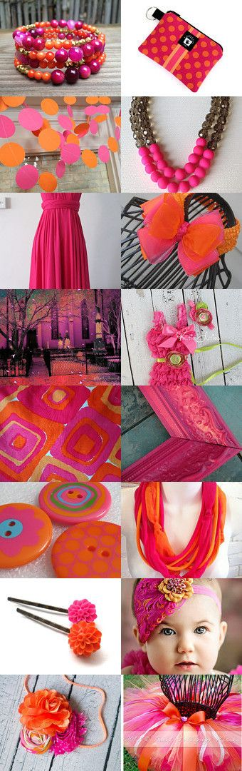 Girls just want to have fun! by Beverly Ash Gilbert on Etsy, hot pink and orange, party, bright, playful, Pinned with TreasuryPin.com