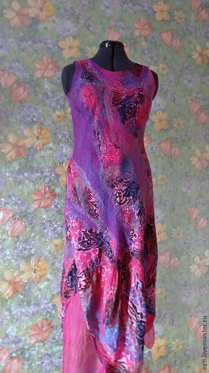 """Платья ручной работы. Ярмарка Мастеров - ручная работа. Купить Валяное платье""""Розовые кораллы"""". Handmade. Фуксия, шерсть меринос"""