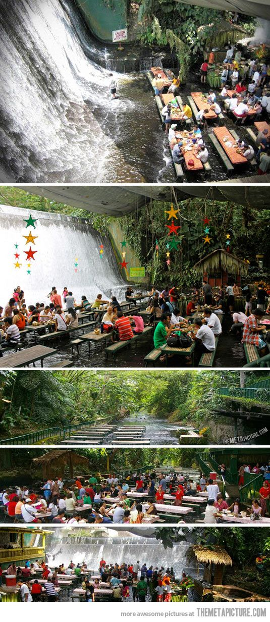 Waterfall restaurant in the Phillipines…