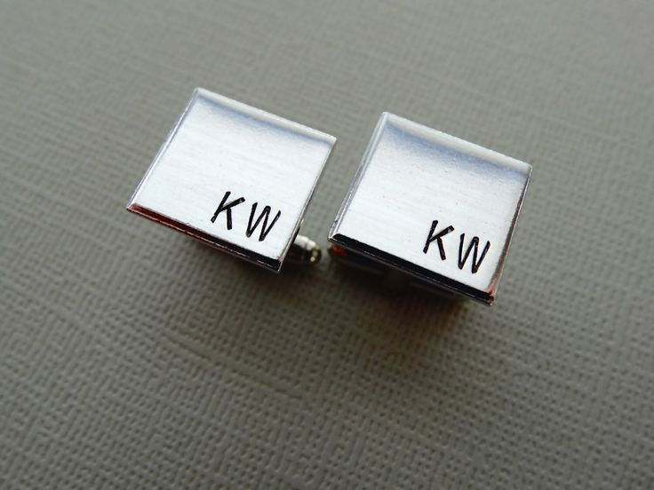 Personalized Cufflinks - Square Initial Cufflinks - Aluminum Custom Cuff links by TesoroJewelry on Etsy https://www.etsy.com/listing/125040166/personalized-cufflinks-square-initial
