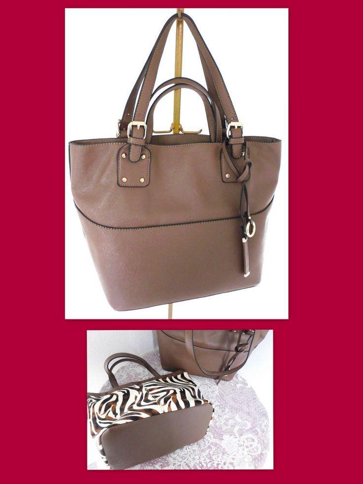 DAVID JONES Faux Leather Tote Handbag w/Inner Zebra Bag Set #DavidJones #TotesShoppers