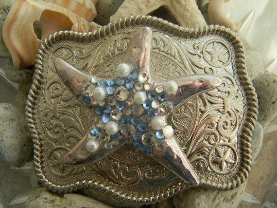 Silver Plated Starfish Belt Buckle