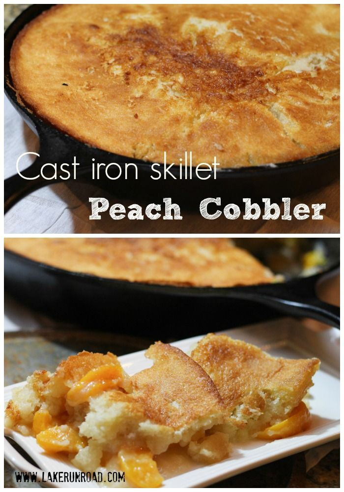 Cast Iron Skillet Peach Cobbler Recipe This is a classic recipe that can be baked in a cast iron skillet or in a regular 9x13 inch pan. Delicious.