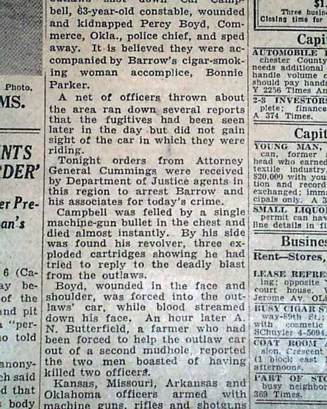 Outlaws Duo Bonnie Parker and Clyde Barrow Gunfight Murders 1934 Old Newspaper | eBay
