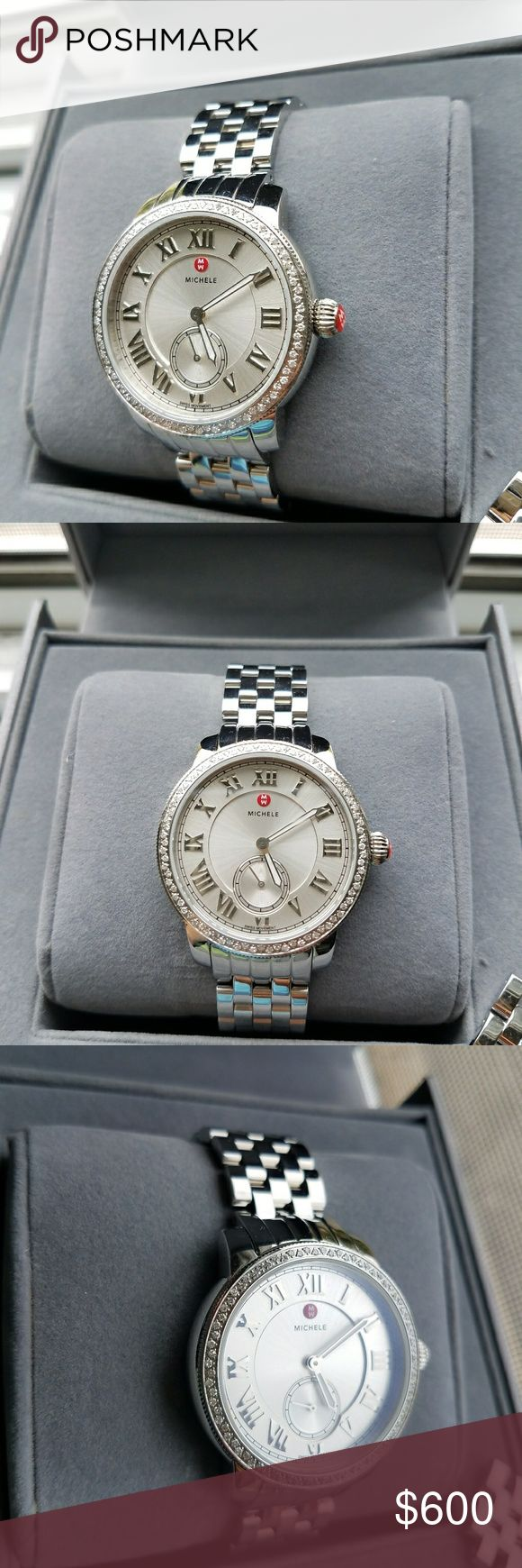 Michele Harbor Diamond Bezel ladies watch It is like new authentic Michele watch comes with original box and extra links.  Model number : MWW28A000001 Case Size : 35mm Strap Size : 16 mm Silver tone hands and roman numeral hour markers on silver dial Number of Diamonds - 0.35 ct tw WATER RESISTANCE : 50 meters / 165 feet  Price on Payp, Vinted and Ven mo $450 Mer ca ri $500 Michele Accessories Watches