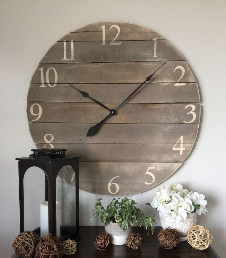 "30"" pallet board clock. Wooden wall clock. Handmade wall hanging. Rustic clock. Distressed wall clock."