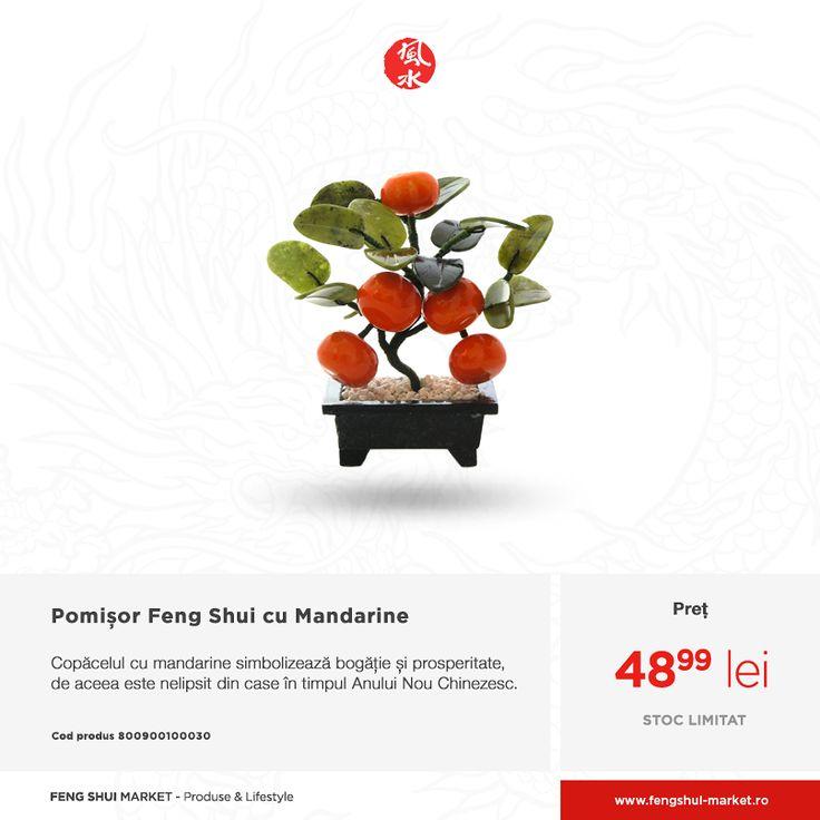 Chinezii expun în casă pomișori cu mandarine, naturali sau din cristale, în timpul Anului Nou Chinezesc, pentru a atrage în următorul an șanse de îmbogățire și de prosperitate pentru întreaga familie.  Așezați pomișorul cu mandarine din jadeit în sufragerie sau în birou, în sectorul de sud-est, pentru mult noroc la îmbogăție sau în sud-vest pentru relații fericite și armonie în familie.