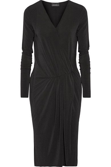 By Malene Birger - Willos Wrap-effect Stretch-crepe Dress - Black