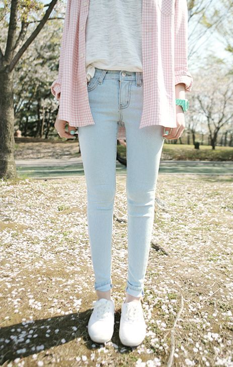Shop this look on Lookastic:  https://lookastic.com/women/looks/dress-shirt-crew-neck-t-shirt-skinny-jeans-low-top-sneakers-watch/4524  — Pink Plaid Dress Shirt  — Grey Crew-neck T-shirt  — Mint Watch  — Light Blue Skinny Jeans  — White Low Top Sneakers