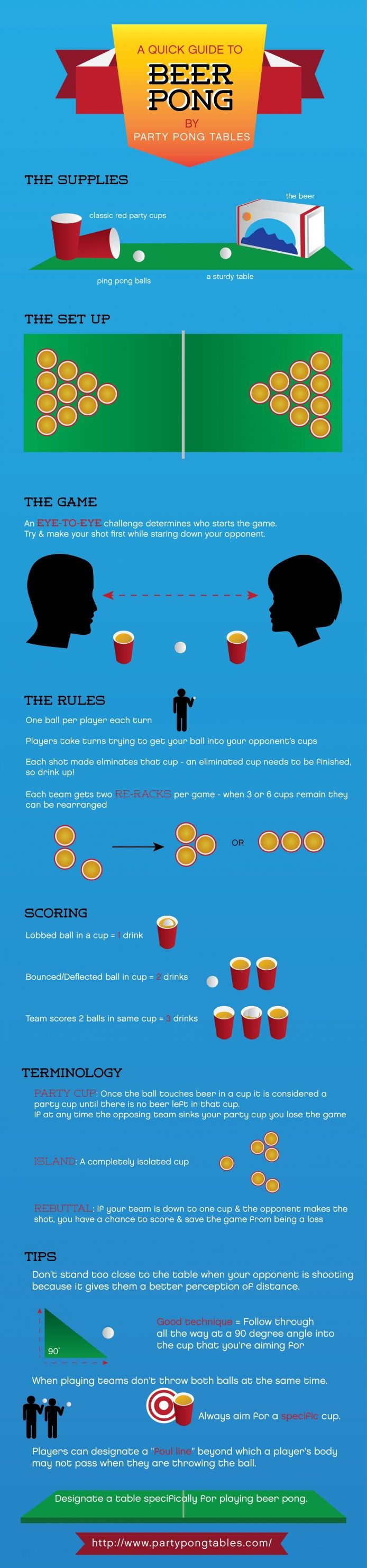 A Quick Guide to Beer Pong for Dummies Infographic