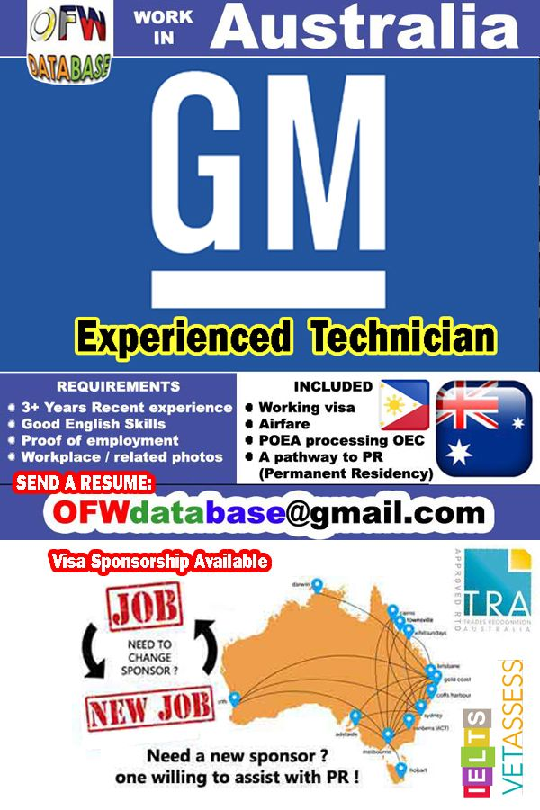 Gm Mechanic Technician Gmc Chrysler Pr Australia Ofw Poea