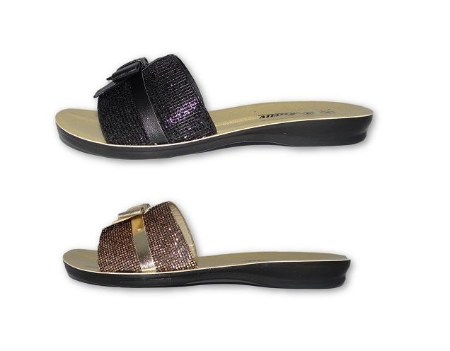 WOMENS LADIES FLAT SLIP ON MULES FLIP BOW SLIPPERS DIAMONTS SUMMER SHOES