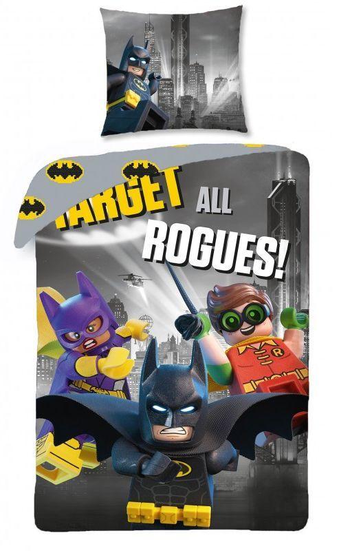 Szara pościel dziecięca z Lego Batmanem